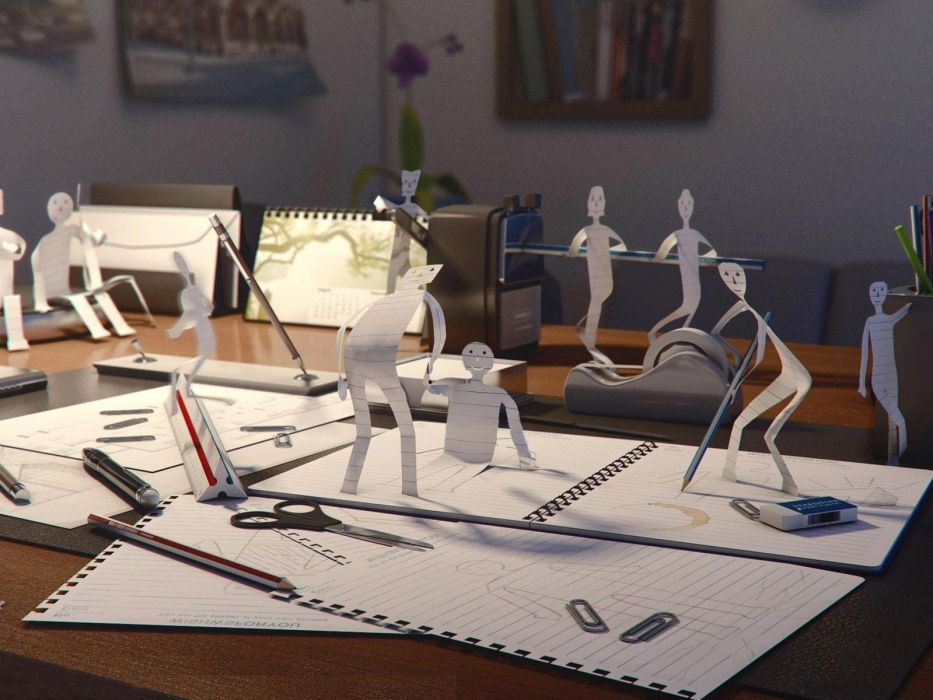 abstract paper figurines wallpaper