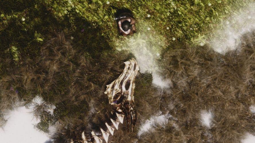 women water flowers dead skeletons The Elder Scrolls rivers The Elder Scrolls V: Skyrim wallpaper