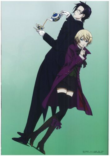 brunettes boots blondes suit tea Kuroshitsuji Alois Trancy anime anime boys Claude Faustus wallpaper