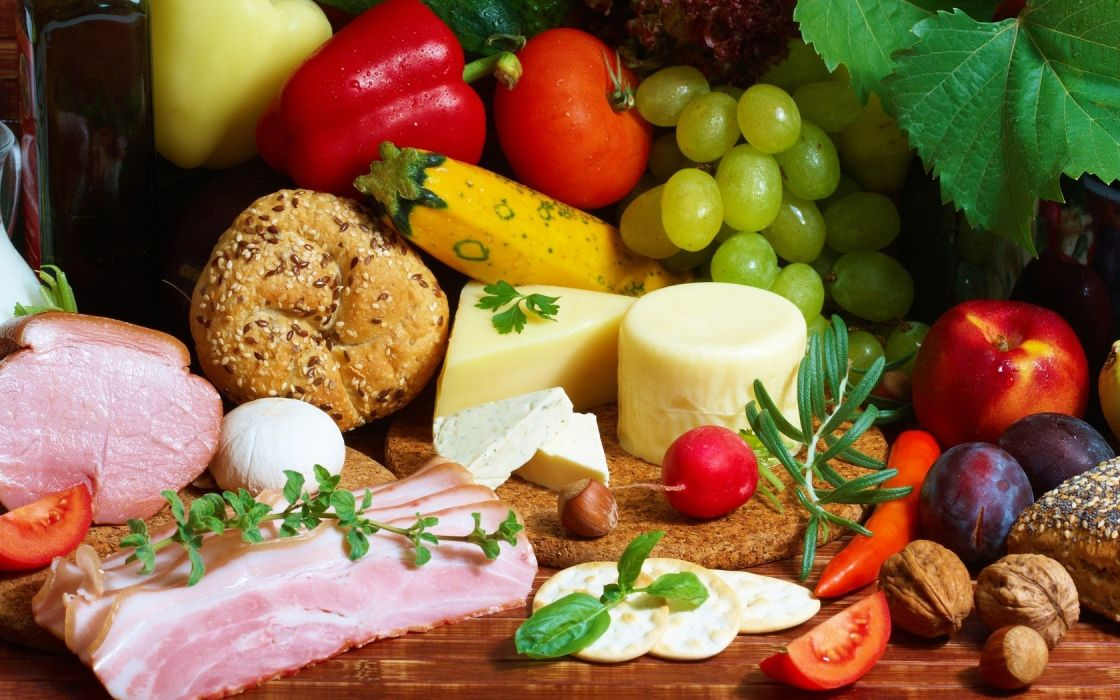 fruits food meat cheese bread grapes nuts tomatoes  peppers wallpaper