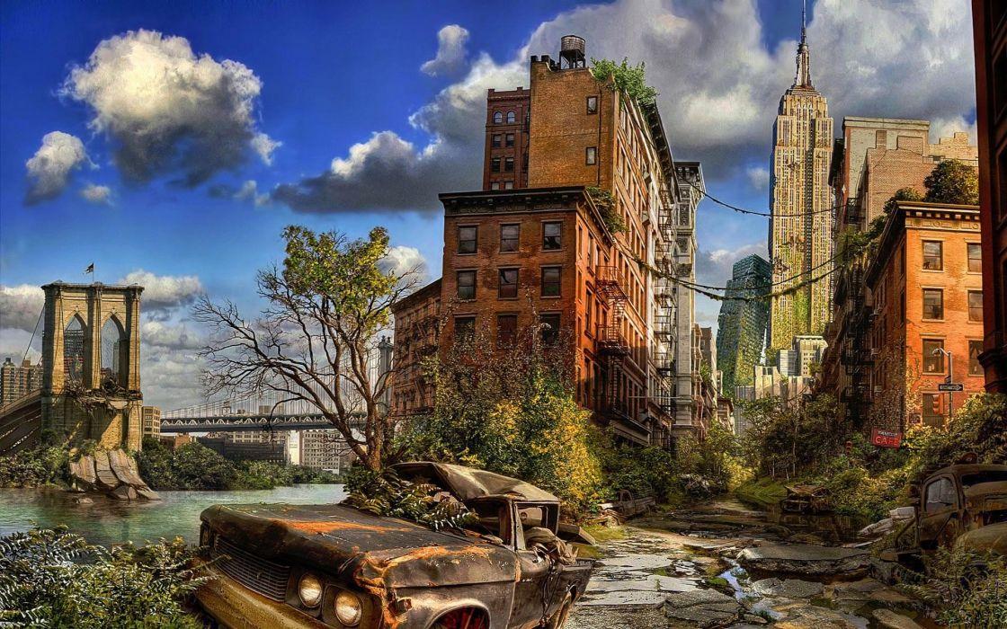 apocalypse New York City digital art post wallpaper