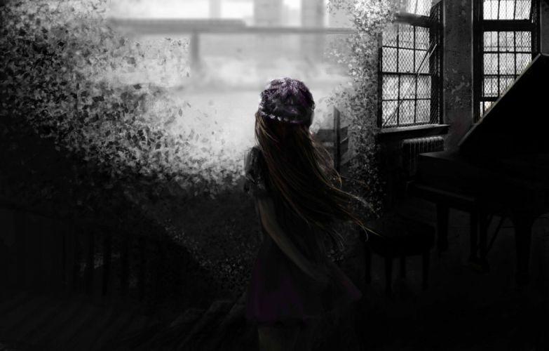blondes video games Touhou dark long hair shattered window panes hats Maribel Han wallpaper