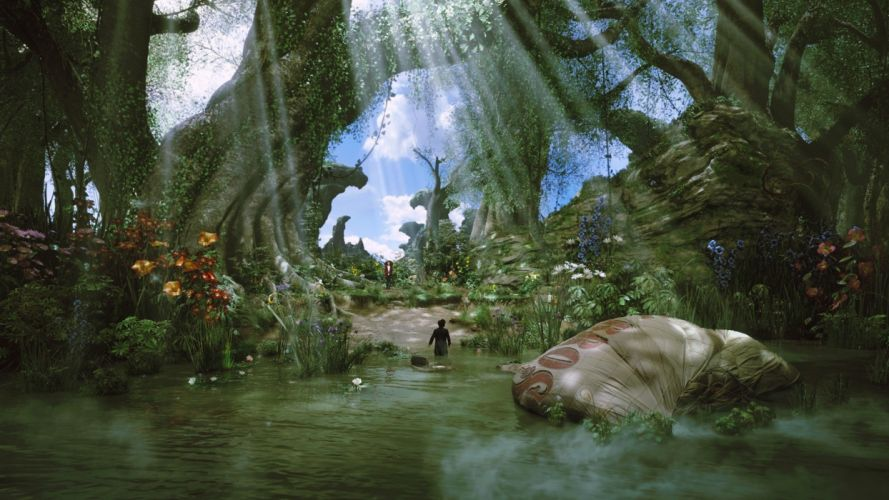 water landscapes movies flowers forests fantasy art sunlight concept art hot air balloons lakes fictional landscapes vines Oz: The Great and Powerful wallpaper