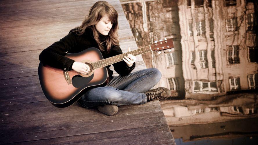 brunettes women jeans acoustic guitars guitars rooftops Diego Rivera wallpaper