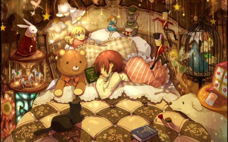 beds toys (children) books sleeping artwork anime anime girls wallpaper