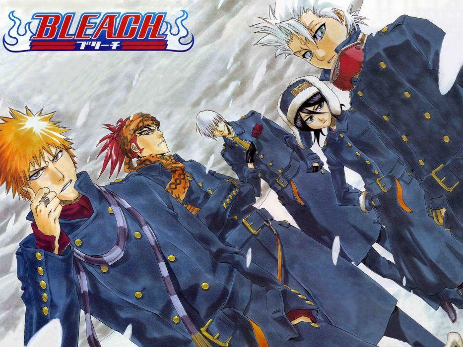 snow Bleach Kurosaki Ichigo Ichimaru Gin Kuchiki Rukia Hitsugaya Toshiro Abarai Renji wallpaper