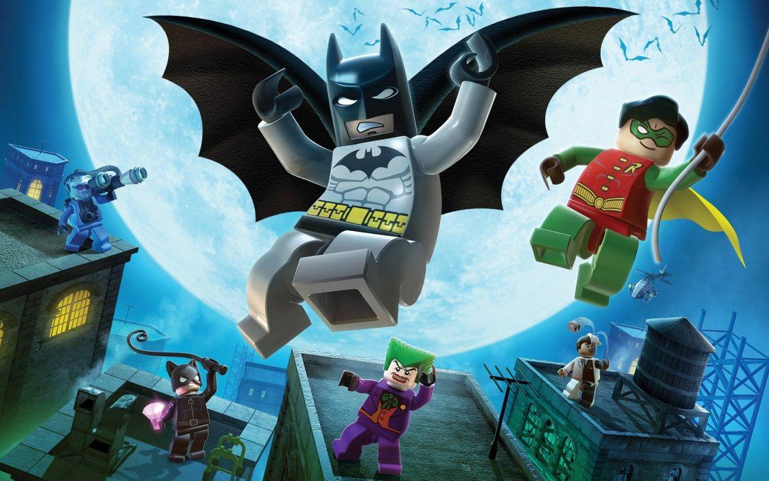 Batman Robin video games The Joker Catwoman rooftops Two-Face bats Mr_ Freeze Legos wallpaper