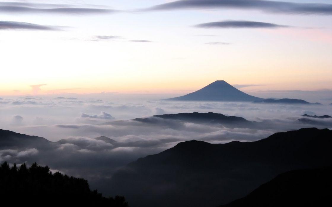 Japan clouds landscapes nature Mount Fuji skies wallpaper