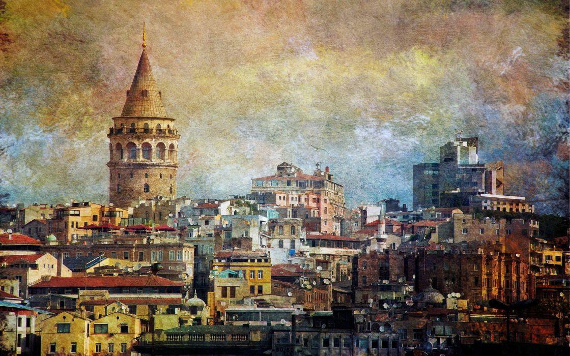 cityscapes multicolor Turkey Istanbul wallpaper