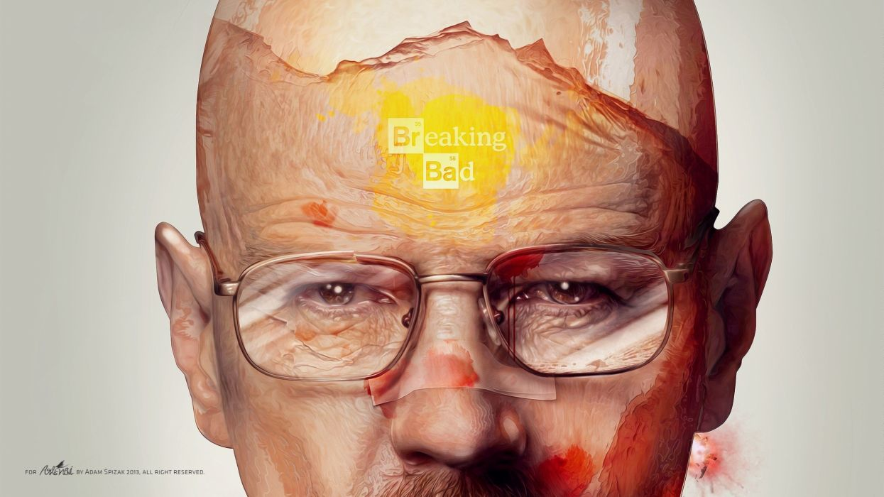 blood men Breaking Bad artwork bandaids Bryan Cranston Walter White simple background faces TV shows men with glasses Adam Spizak portraits wallpaper