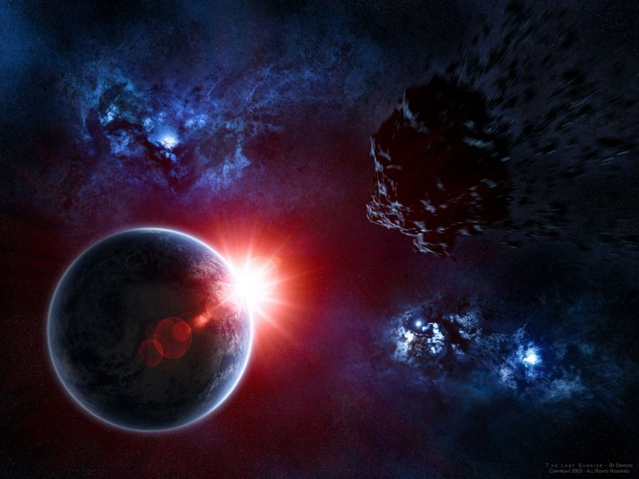 sunrise outer space Earth fantasy art asteroids wallpaper