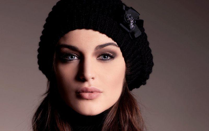 brunettes women close-up blue eyes models Lauren Budd faces wallpaper