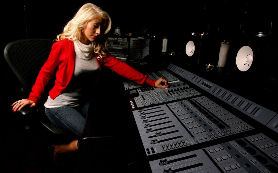 blondes women Christina Aguilera jackets mixing table wallpaper