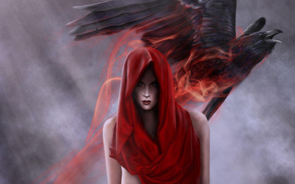 women rain birds energy artwork crows Red Hood witches hood wallpaper