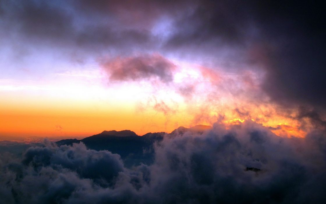 sunset mountains clouds landscapes nature mist skies wallpaper