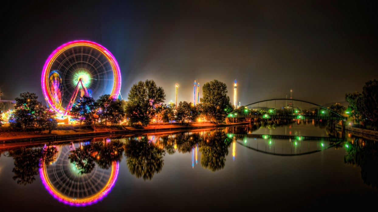 urban amusement park ferris wheels HDR photography wallpaper
