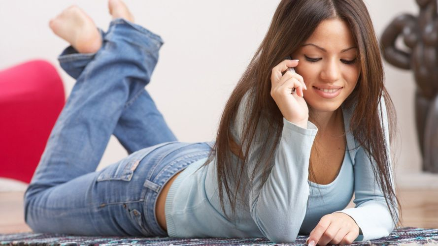 brunettes women hands phones wallpaper