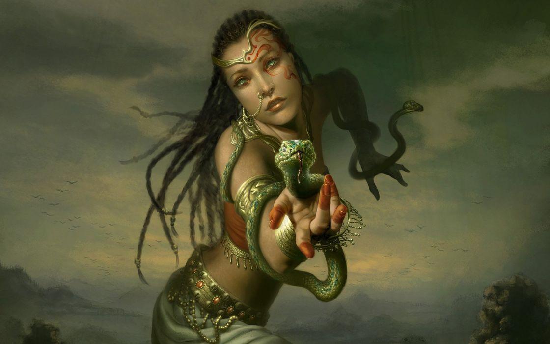 Green Snakes Fantasy Art Gypsy Wallpaper