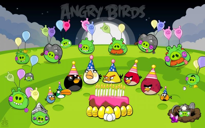 night party pigs Angry Birds wallpaper