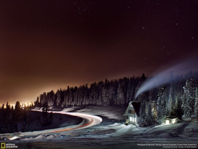 landscapes nature night forests Russia houses National Geographic snow landscapes wallpaper