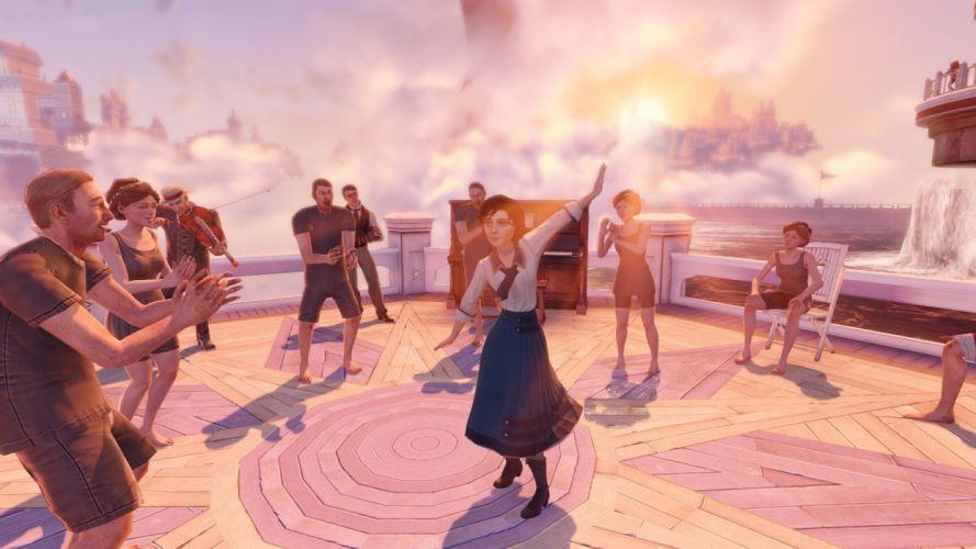 water piano dancing Bioshock Infinite Elizabeth Comstock beaches wallpaper
