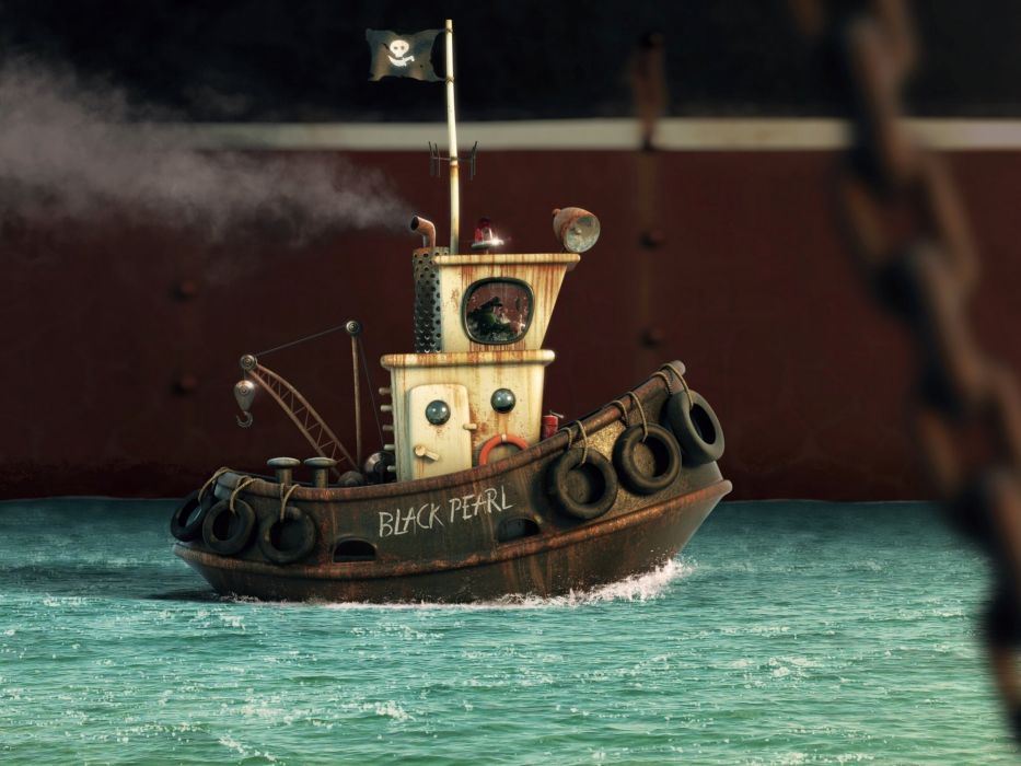 alexandre trevisan boat ship cartoon ocean sea tug tugboat wallpaper