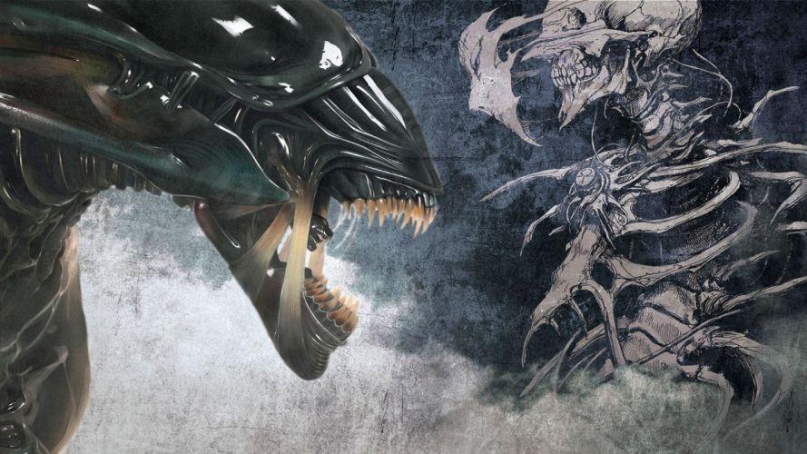 alien monster sci-fi movie film dark skull skull wallpaper