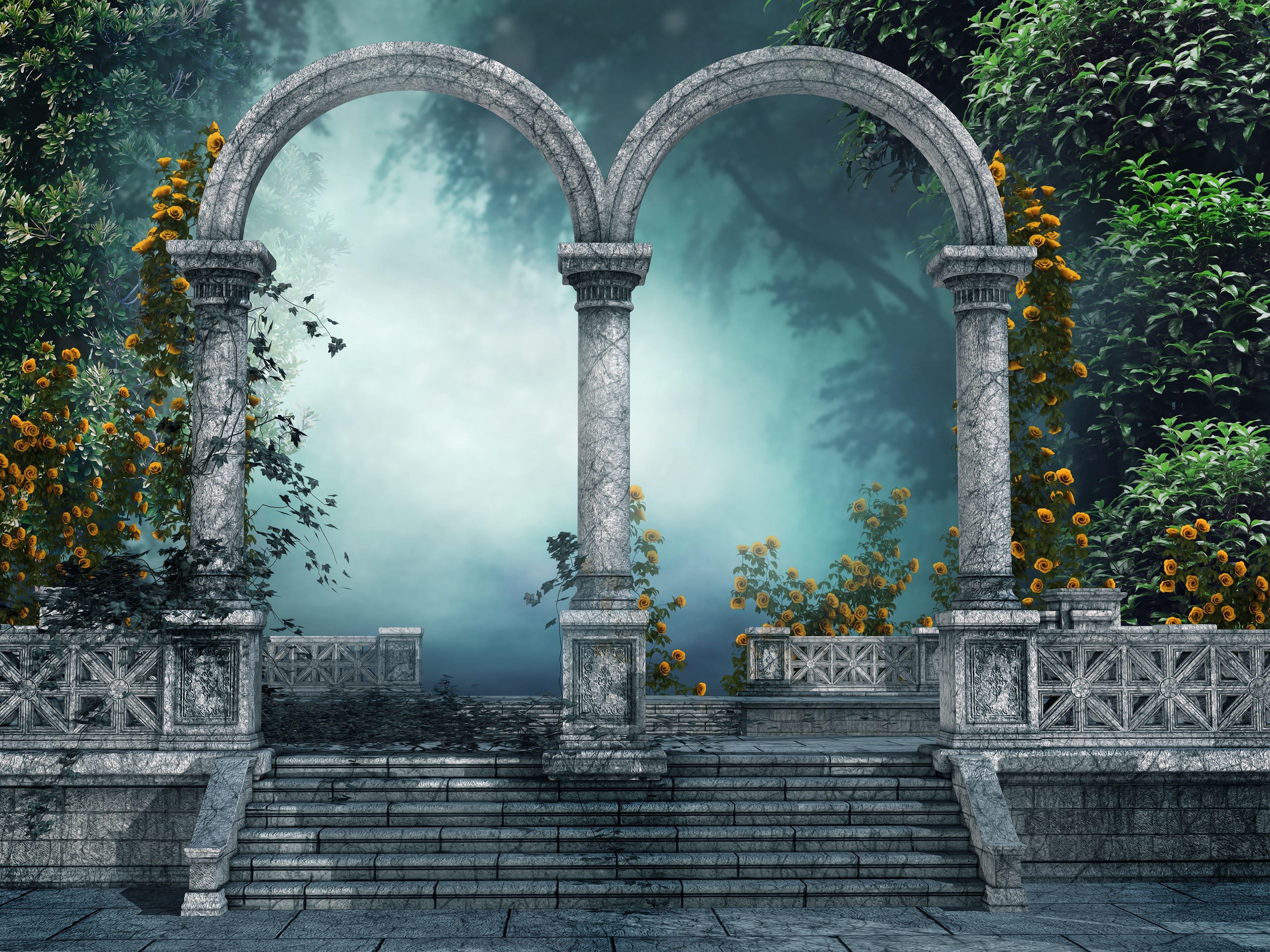 arch forest gate door 3d art artwork flowers wallpaper