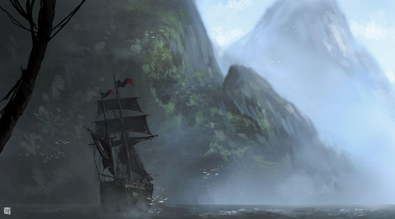 Assassins Creed 4 Black Flag Sailing Mountains Ships Games boat fantasy wallpaper