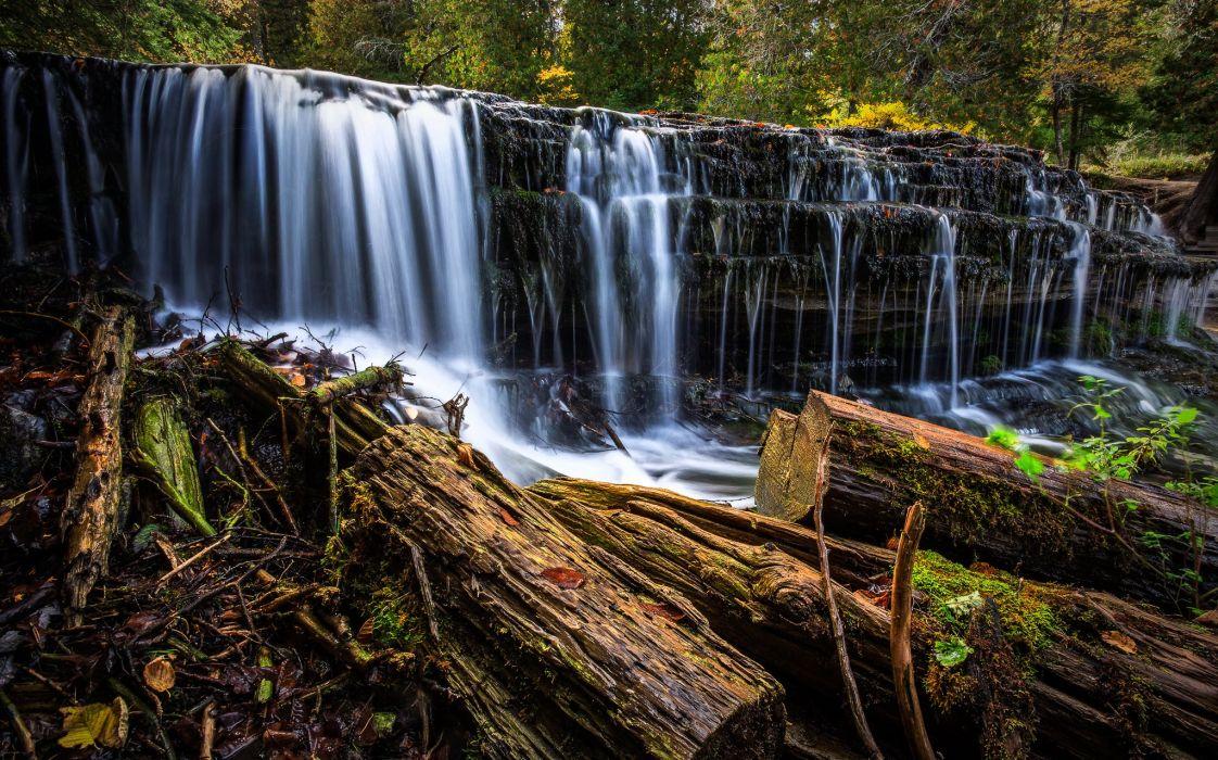 Au Train Falls Michigan river forest autumn wallpaper