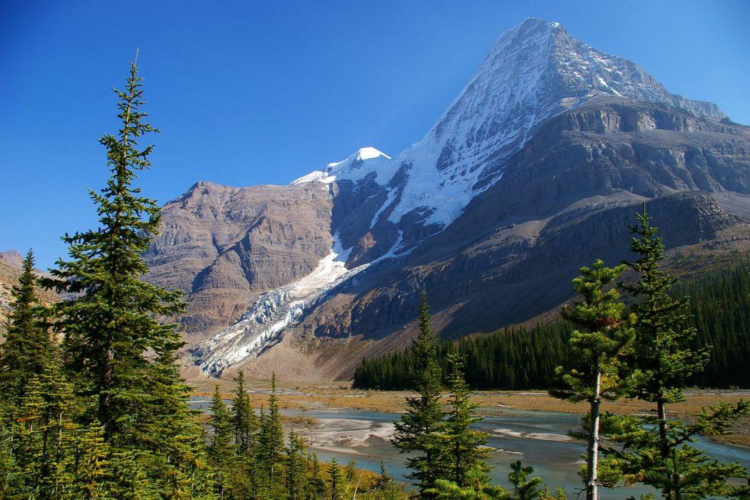 Canada Parks Mountains Mount Robson Fir Nature river wallpaper