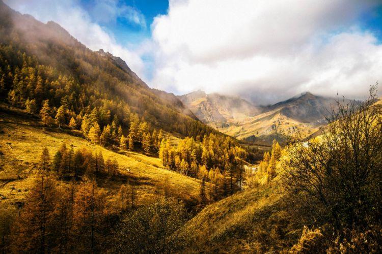 chianale italy mountains autumn fog wallpaper