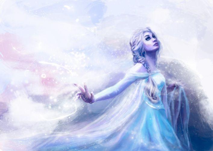 disney frozen snow queen elsa fantasy girl artwork mood wallpaper