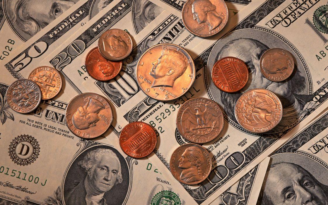 Dollars Coins Closeup money wallpaper