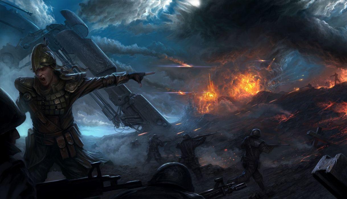explosion soldiers war battle warrior armor wallpaper