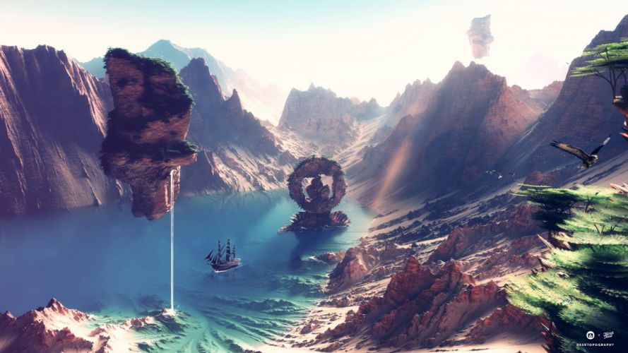 Fantastic world Mountains 3D Graphics lake wallpaper