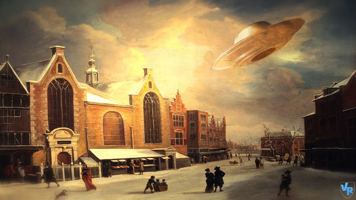 Fantastic world Pictorial art UFO Fantasy spaceship wallpaper