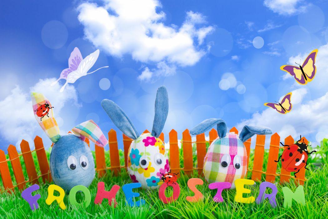 fence Holidays Easter Butterflies Sky Eggs Grass wallpaper