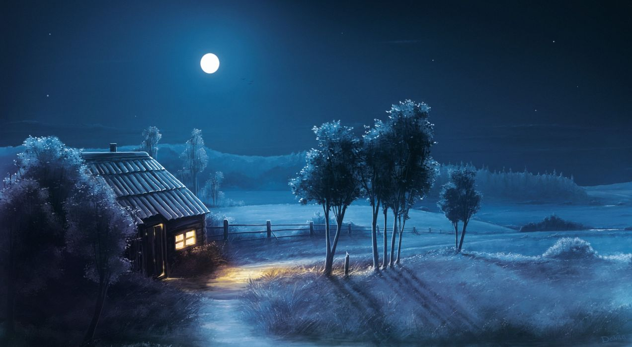 field house moon night tree wallpaper