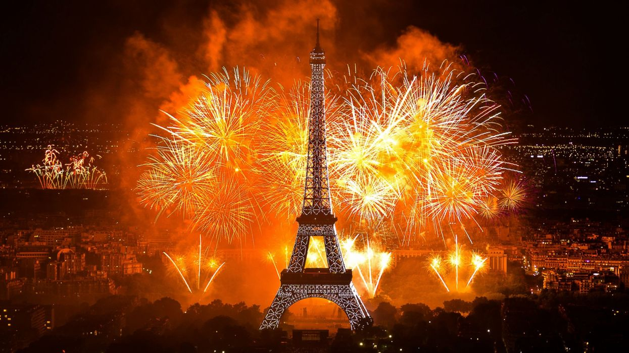 france eiffel tower paris fireworks new year city wallpaper