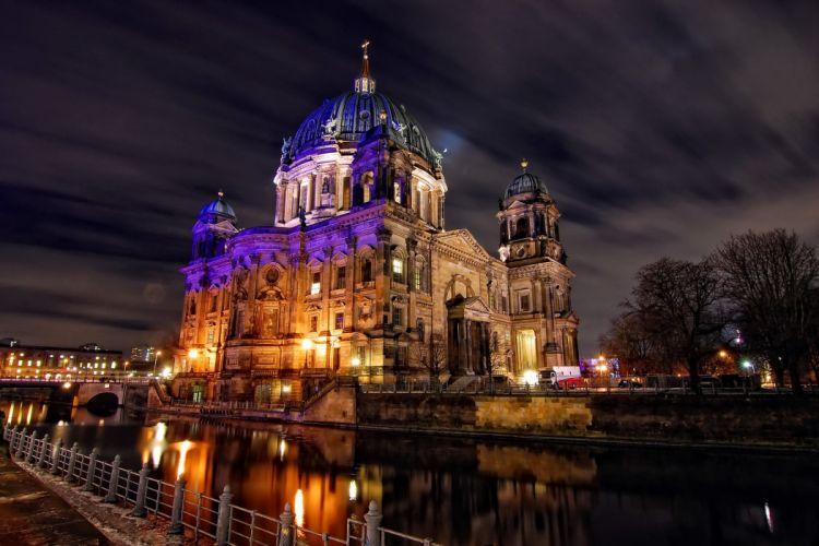 Germany Berlin River Night Cities wallpaper