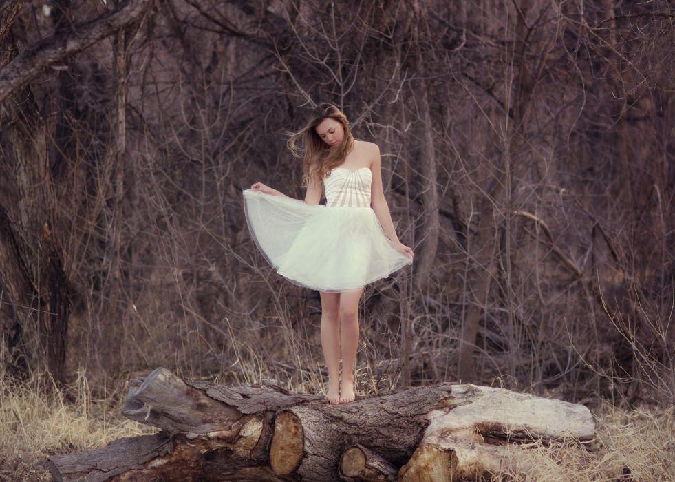 girl dress white timber mood wallpaper