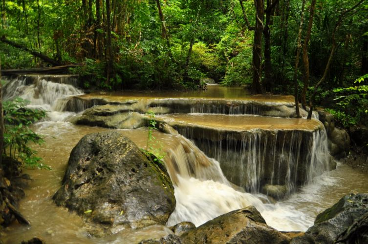 green Thailand Parks Waterfalls Forest Stones Erawan Nature river wallpaper