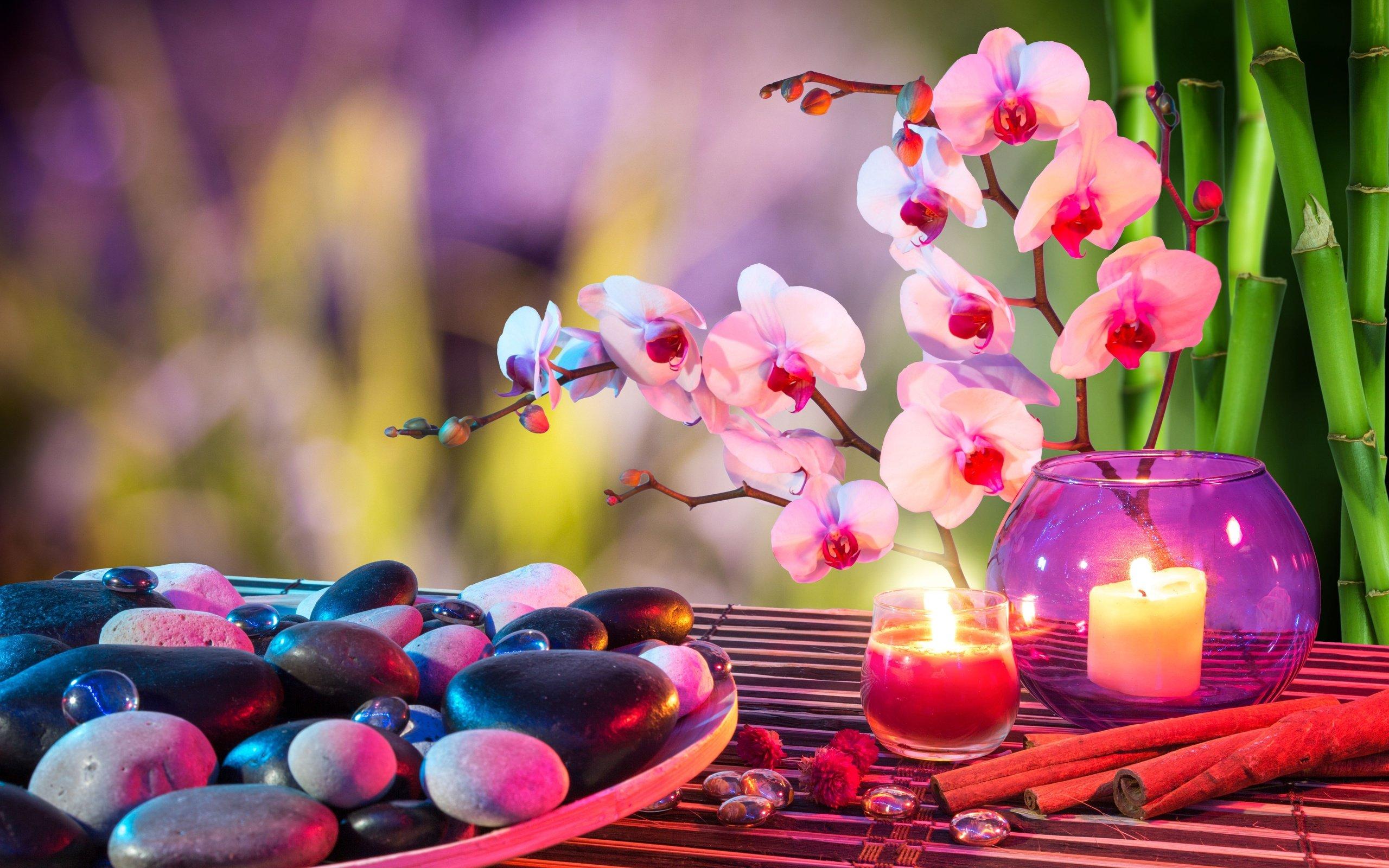 Heart stones candles orchids towels bamboo bokeh mood f for Armonia en el hogar decoracion