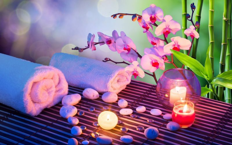 heart stones candles orchids towels bamboo bokeh mood wallpaper