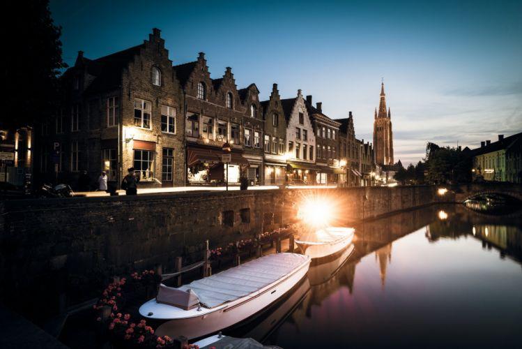 Belgium Bruges West Flanders reflection wallpaper