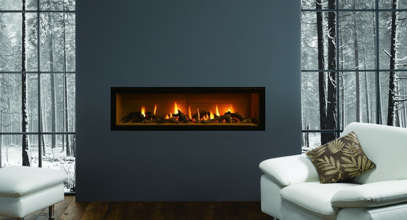 design Room fireplace fire snow winter trees nature chairs pillows gray wallpaper