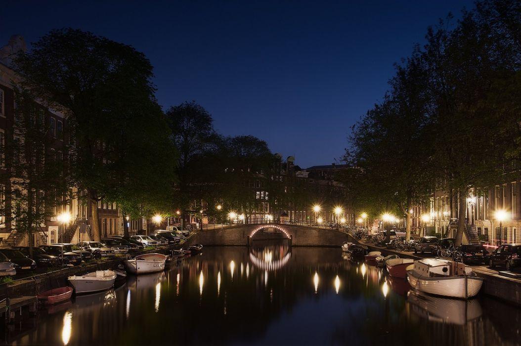 holland street amsterdam canal reflection river night wallpaper