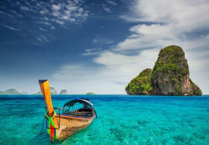 island boat beach tropical sea ocean wallpaper