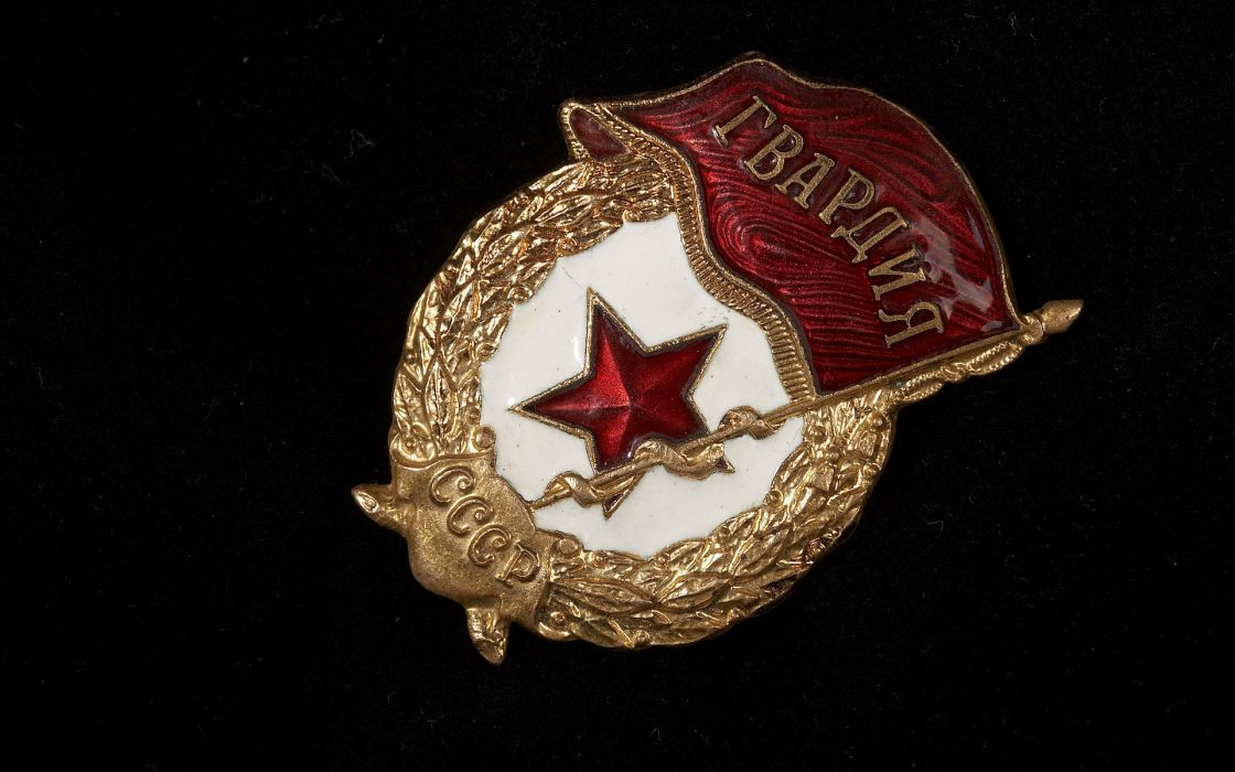 icon Guards Soviet star banner black background close-up mititary medal russia russian wallpaper